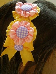 Diy Hairstyles, Pretty Hairstyles, Homemade Bows, Kanzashi Flowers, Hair Decorations, Diy Hair Accessories, Ribbon Bows, Baby Headbands, Fabric Flowers