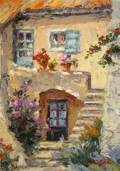 """""""Old World Cottage"""" - Original Fine Art for Sale - © Erin Dertner"""