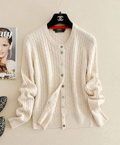 Women's Long Sleeve Knitted Cashmere Cardigan Sweater Women Autumn Winter Cable Knit Warm Cardigans Female Fashion Trendy Tops