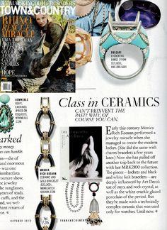 Xox @townandcountrymagjewelry @townandcountrymag October issue #ceramic #jewelry #monicarichkosann #locket #bracelet #ceramicjewelry