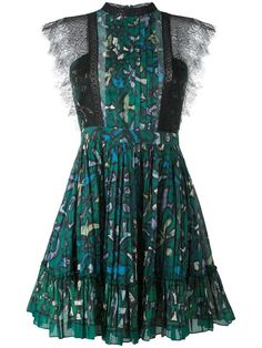 Valentino платье с кружевной отделкой и принтом