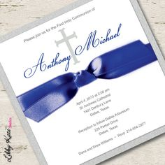 Boy First Communion Invitation Blue and Silver by LibbyKateSmiles, $1.95