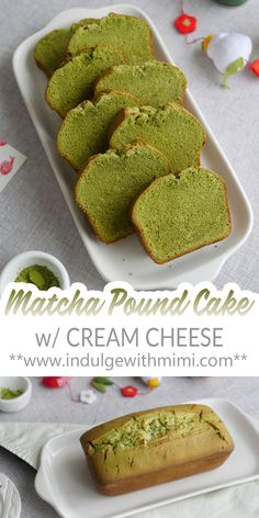 An easy matcha cream cheese pound cake using minimal ingredients and simple baking steps. This tender green tea cake can be kept at room temperature and transports easily for tea time, parties and edible gifts. Pound Cake Recipes, Tea Recipes, Dessert Recipes, Green Tea Pound Cake Recipe, Sweet Recipes, Baking Recipes, Matcha Dessert, Matcha Cake, Pastries