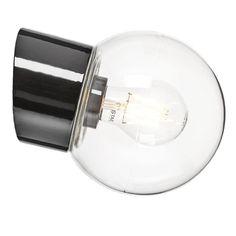 Porslinslampa med kupa och sned sockel (IP20) svart