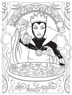 Celebrate National Coloring Book Day with Disney Style | Evil Queen coloring page | [ http://di.sn/6006B0K6k ]