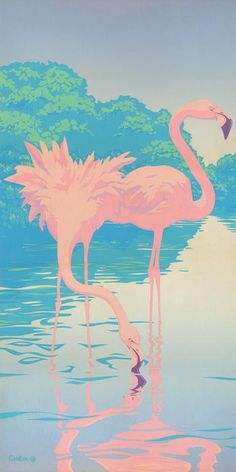 Pink Flamingos Retro Pop Art Nouveau Tropical Bird 80s 1980s Florida Painting Print Poster By Walt Curlee
