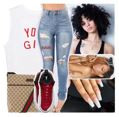 """oakland girls so d*mn hood, but we so d*mn pretty"" by lamamig ❤ liked on Polyvore featuring Gucci and NIKE"