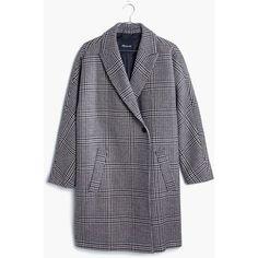 MADEWELL Keaton Cocoon Coat ($298) ❤ liked on Polyvore featuring outerwear, coats, merry glenplaid, blue coat, blue slip, lapel coat, collar coat and oversized lapel coat