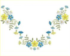 9 Floral Designs - Plus 9 Designs - See bottom of page for ideas to combine the designs for a T Shirt Neckline and Borders Floral Embroidery Patterns, Embroidery Works, Machine Embroidery Patterns, Embroidery Stitches, Hand Embroidery, Photoshop Design, Photoshop Elements, Hippie Chic, Embroidery Suits Punjabi