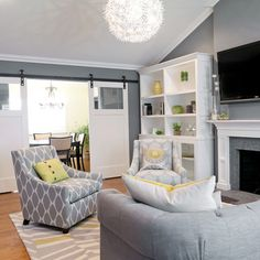 grey and yellow living room - Google Search  Omg I wish our living room looked like this