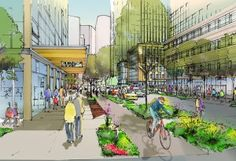 A rendering of the Seventh Avenue protected bike lane that will be funded in part by Amazon. Image: Seattle Times