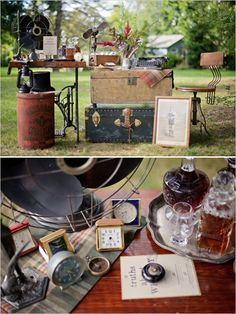 vintage whiskey and guestbook table ideas #guestbooktable #vintagedecor #weddingchicks http://www.weddingchicks.com/2014/04/03/masculine-wedding-ideas/