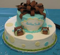 baby shower cakes for a boy WITH OWLS | shower cake