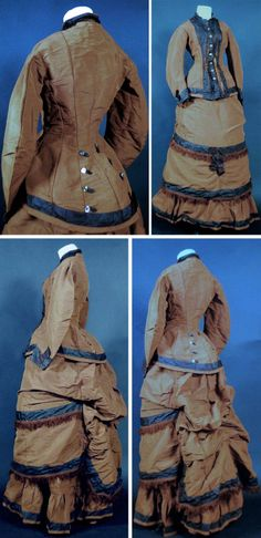 Two-piece dress, ca. 1880s, of brown silk faille with thick cord weave. Bodice buttons close in front, lined in cotton, with rear in button-trimmed bustle back. Skirt is in layers of matching fabric, heavily ruffled in bottom sweep. Double apron drapes in front; rear ruched and in waterfall bustle style with full poof volume. jamiexmas/ebay