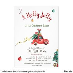 Little Rustic Red Christmas Invitation Little Christmas, Rustic Christmas, Xmas, Christmas Ornaments, Christmas Invitations, Jingle All The Way, Rustic Invitations, Party Hats, Rsvp