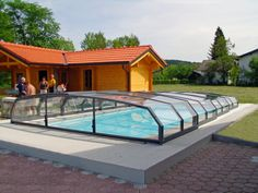 Openable low pool cover OCEANIC in anthracite color