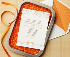 Modern orange and gray wedding invitation by Curious & Company Invitations