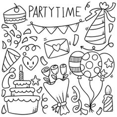 Easy Doodles Drawings, Easy Doodle Art, Doodle Art Designs, Simple Doodles, Happy Birthday Doodles, Doodle Art For Beginners, Doodle Pages, Kawaii Doodles, Bullet Journal Writing