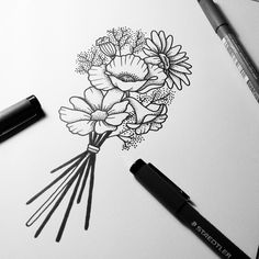 Working on the last sketch for Noémie's wildflower bouquet.