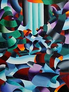 Futurist Landscape Painting by artist Mark Webster. #painting found on the FASO Daily Art Show -- http://dailyartshow.faso.com