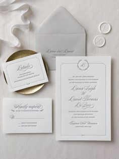 invites design Letterpress Wedding Invitation / Florence design / CHATHAM & CARON letterpress s. Elegant Wedding Invitations, Minimalist Wedding Invitations, Wedding Invitation Wording, Traditional Wedding Invitations, Wedding Stationary, Monogram Wedding Invitations, Invitation Kits, Engagement Invitations, Classic Wedding Stationery