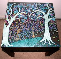 Funky  Forest Themed Hand Painted Coffee Table .FREE SHIPPING.