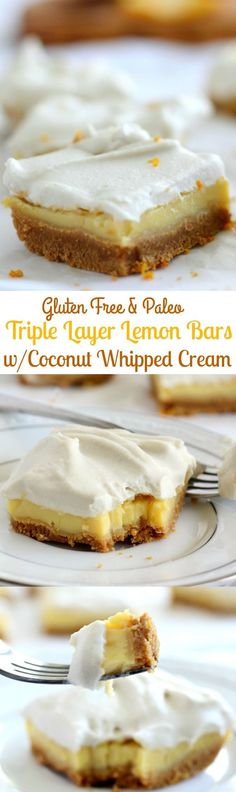 Layer Paleo Lemon Bars that are gluten free, dairy free, - topped with easy coconut whipped cream - these bars are a dream!Triple Layer Paleo Lemon Bars that are gluten free, dairy free, - topped with easy coconut whipped cream - these bars are a dream! Gluten Free Sweets, Gluten Free Baking, Healthy Sweets, Dairy Free Recipes, Paleo Recipes, Gluten Free Bars, Potato Recipes, Crockpot Recipes, Soup Recipes