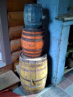 Stacked Barrels.  I hve an old pickle barrel I use to hold my old cane collection.