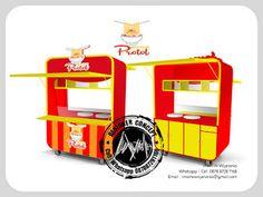Desain Logo | Logo Kuliner |  Desain Gerobak | Jasa Desain dan Produksi Gerobak | Branding: Desain Gerobak Bakso Protol Mobile Stand, Thai Tea, Food Stall, Restaurant Design, Food Truck, Kitchen Appliances, Logos, Bed, Modern