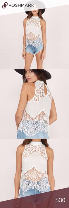 Tobi embroidery lace top Brand new with tags, embroidered cut out, neck button loop closure Tobi Tops Tank Tops