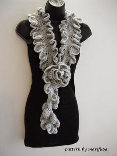 Free crochet patterns and video tutorials: how to Crochet ruffle rose scarf free pattern tuto...