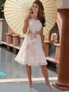 A-line Sweetheart Tea-length Organza Wedding Dress - Didobridal wd516