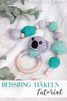Häkel-Anleitung für Anfänger // crochet koala teething ring  tutorial Ring Tutorial, Boyfriend Crafts, Valentine's Day Diy, Valentines Diy, Crochet For Kids, Christmas Diy, Baby Kids, Knitting Patterns, Crochet Necklace