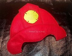 Red Fireman Felt Hat - Pretend Play - Dress Up - Play Therapy - Photo prop - Red - First Responder - Community Helpers