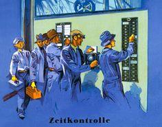 Werbung aus den 30ern - Arbeiter an der Stempeluhr (Bild FAZ, Interfoto)