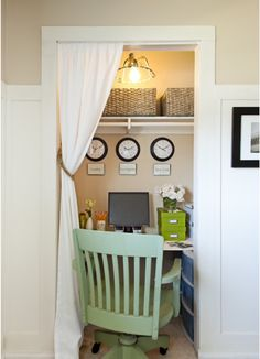 Closet office.  I've done this myself and love it!  Tip: I used lightweight hook type curtain clips on my tension rod.  That allows the curtain to slide for easier opening and closing! Such an inexpensive way to decorate!