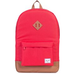 Herschel Heritage Backpack In Red ($129) ❤ liked on Polyvore featuring bags, backpacks, day pack backpack, travel rucksack, pocket backpack, travel bag and red backpack