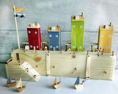 Driftwood Cottages Little Wooden Houses Reclaimed Wood Caravan Sailboat Car Unusual Gift Mothers Day Easter New Home Gift Nordic Rustic