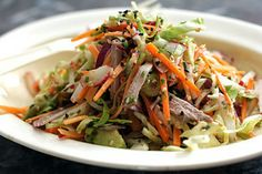 Cole slaw with wasabi dressing. For the dressing: lime juice, wasabi ...