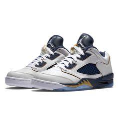 Nike Air Jordan 5 Retro Low White   Metallic Gold Star  Navy - Nike Air 375f78420