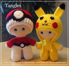 CROCHET - BIG HEAD DOLL - BABYDOLL YO-YO - POKEMON - Pokeball and Pikachu Big Head Baby Dolls / TANGLES