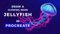Learn how to draw a super-cool neon glowing jellyfish in Procreate! This tutorial will take you step-by-step, showing you lots of useful techniques and tricks along the way. By the end, you'll have a pretty rad drawing of this most unusual sea creature. What To Draw, Learn To Draw, Drawing Prompt, Drawing Ideas, Jellyfish Drawing, Animation Tutorial, Affinity Designer, Digital Art Tutorial, Illustrator Tutorials