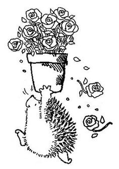 Hedgehog with flowers & TONS of other free digital