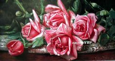 Print FREE Ship Pink Cabbage Roses Roseland by VictorianRosePrints, $10.99