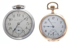 Hamilton 16 Size & Hampden 18 Size Pocket Watches Case: Hamilton - 16 size, side swing out, Hampden - 18 size, - Available at Tuesday Internet Watch and. Old Pocket Watches, Pendant Watch, Antique Watches, Gold Letters, Watch Case, Hamilton, Enamel, Plate, Lettering