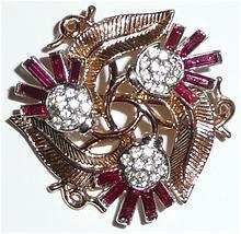Beautiful Vintage Trifari Thistle Red Pink Rhinestone Brooch and Earrings