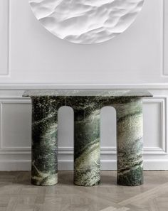 Green marble console table