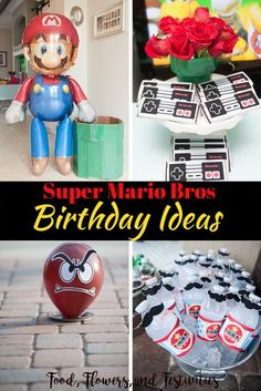 DIY ideas for an easy and imaginative Super Mario Bros birthday party for your child. Create a Odyssey cake, make Mario costumes for your guests, and discover fun Mario games. We will show how to make impressive decorations, invitations, favors, and even Super Mario Bros, Super Mario Birthday, Mario Birthday Party, Super Mario Party, Boy Birthday Parties, Diy Birthday, Birthday Cakes, Super Mario Games, Birthday Ideas