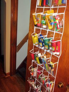 Kids Art Supplies Handy and Organized. Not just for kid's stuff - great for adults too!