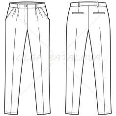Women's Pleated Pants Fashion Flat Template